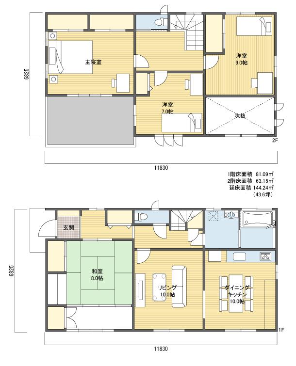 間取りプラン 2階建 40?50坪 西玄関