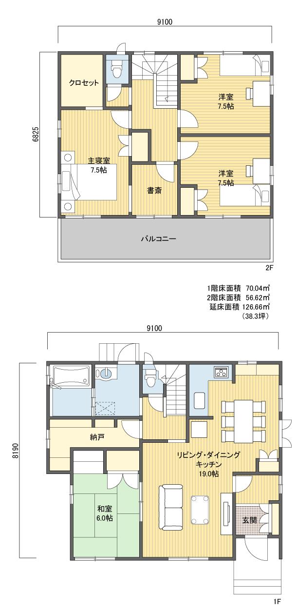 間取りプラン 2階建 30?40坪 南玄関