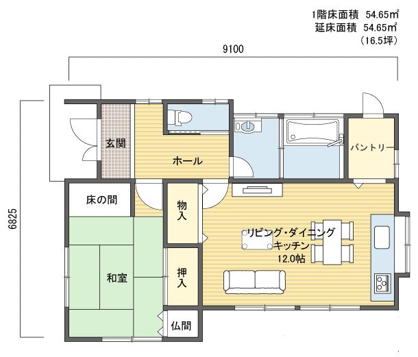 間取りプラン 1階建(平屋) 10?20坪 西玄関